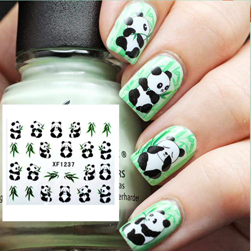 1 Sheet Cute Panda Nail Art Water Decals Vivid Feather Pattern Design Transfers Sticker #12302 чехол для карточек cute panda дк2017 117