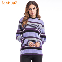 SanHuaZ Brand 2017 Winter Autumn Women S Sweater Casual O Neck Long Sleeve Striped Slim Pullovers