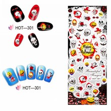 3 Sheets/Lot (1 SET=3PCS )Halloween Nail Tattos Sticker DIY Adhesive-Self Water Transfer Decal Art Decoration HOT301-303