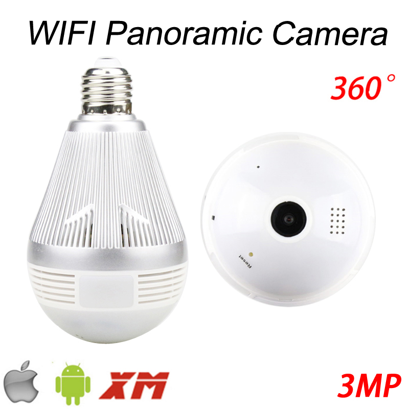 Three Array Infrared Led 128G 3MP 360 degree Fisheye 3D VR Panoramic Bulb Wifi Wireless IP CCTV Surveillance Camera FreeShipping