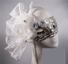 Silver exaggerated side with flowers Halloween Italian mask beauty masquerade princess party adult