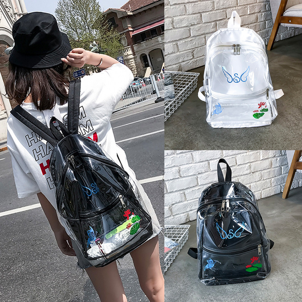 anti-theft backpack Girl Plastic Transparent School Bag Backpack Printingl Women Trave Shoulder Bag Preppy Style Soft  Teenage
