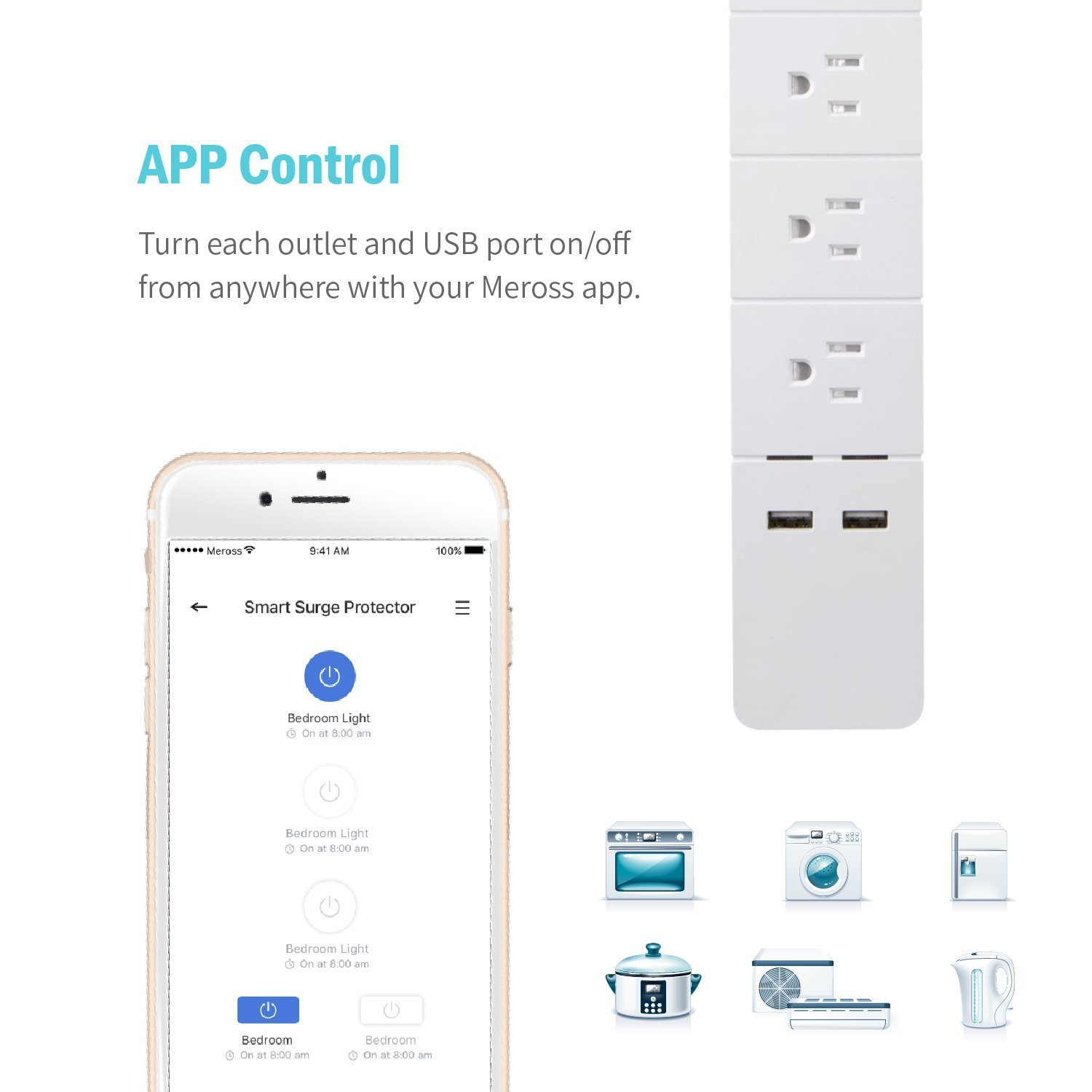 Wi-Fi Smart Power Strip, Amazon Alexa, Google Assistant & IFTTT Supported, APP Remote Control, With 3 Smart AC Outlets and 2 U