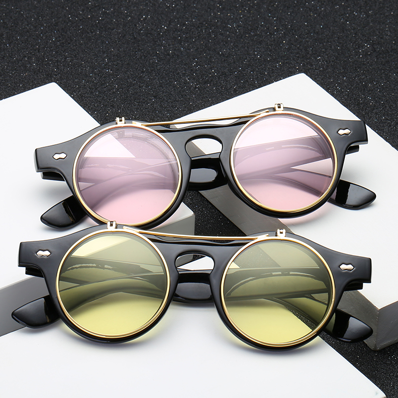 af1204feb7a Steampunk Goth Goggles Retro Flip Up Round Sun Glasses for Women Vintage  Black Sunglasses Men Oculos de sol Feminino R036-in Sunglasses from Apparel  ...
