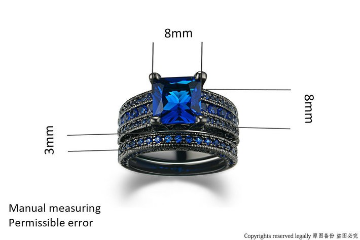 CZ Blue Spinal Rings in Black Gold Color for Women