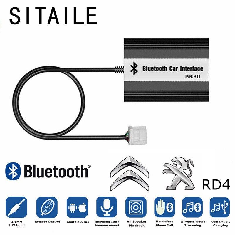 SITAILE A2DP MP3 Lecteur de Musique Voiture Bluetooth Kit Adaptateur pour Peugeot 207 307 RD4 Citroen RT4 C2 C3 12PIN Interface chargeur USB