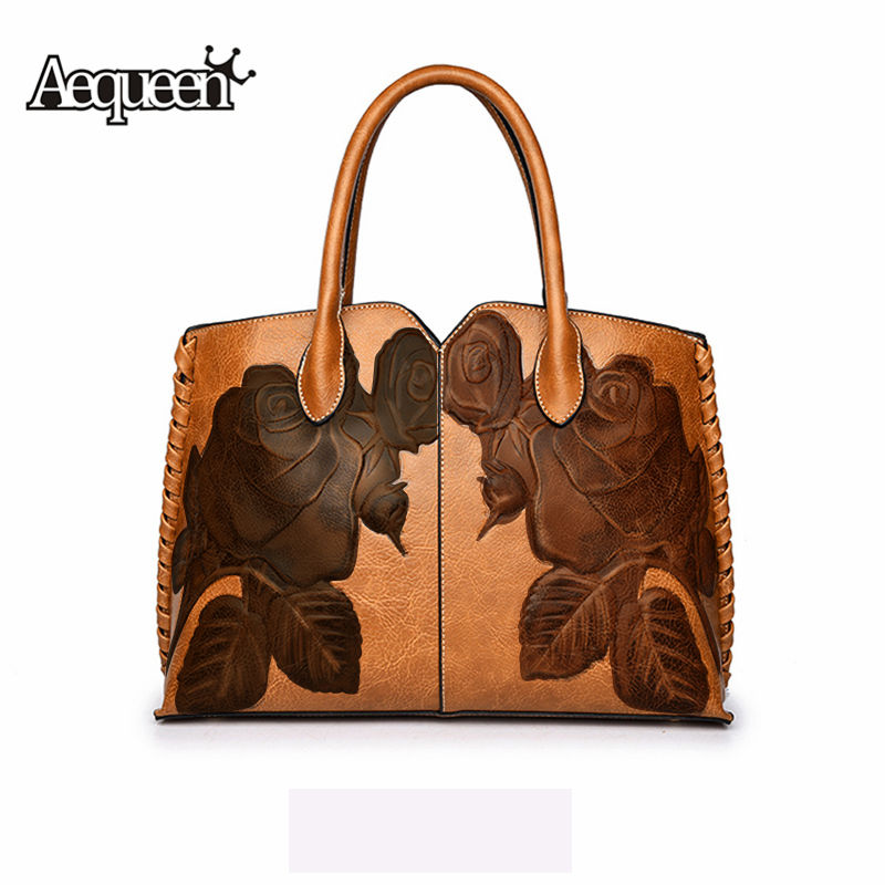 AEQUEEN Women Luxury Handbags Female PU Leather Shouder Bags For Ladies Totes Flower Embossed Top-Handle Bag Bolsa Feminine hot sale pu leather bag for women vintage chinese fusion style floral embossed ladies handbags female totes clutch bag hq1062