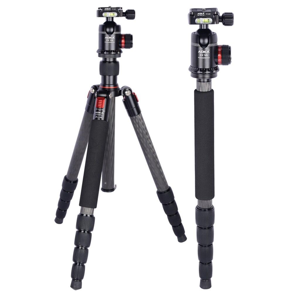 AOKA Professional 5 sections KT285C travel carbon fiber camera tripod stand with tripod ball head kk38