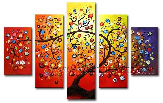 Large Framed canvas painting Handpainted 5 panel wall Art Home Decoration  Items family tree wall art. House Decoration Items