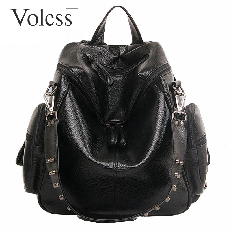 Multifunction Designer Backpacks Women Preppy Bookbags Mochilas Mujer Rivet Leather Backpack Lady Large Capacity Mochila Escolar mochilas designer genuine leather bag mochila ciclismo preppy style multifunction men canvas bag fb1125