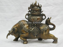 "Fast 7""Chinese Feng shui geomancy pure Bronze Ju Bao Pen wealth OX Wealthy Bull fast(China)"