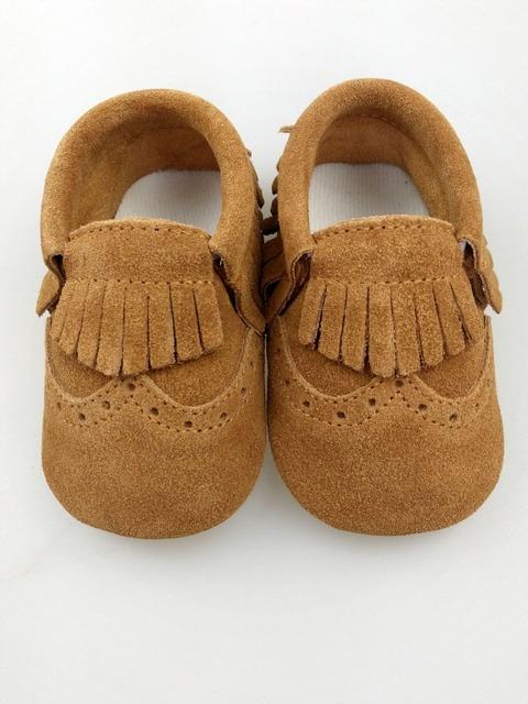 2016 Nova Couro Genuíno Do Bebê Sapatos Mocassins sólidos khaki fringe Bebê meninas meninos Shoes Newborn primeiro walker Sapatos Infantis