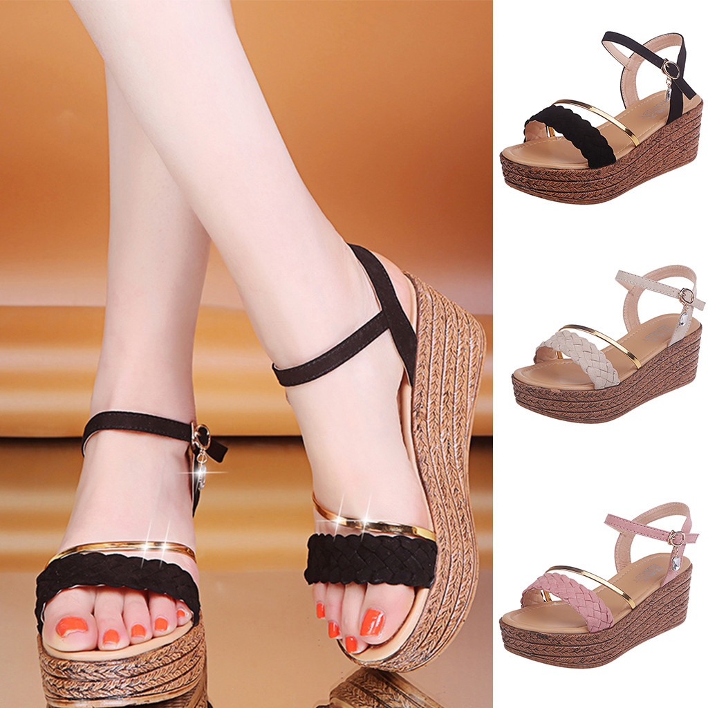 Summer Womens Peep Toe Wedge Casual Sandals Ladies Buckle T-Strap Zip Shoes Size