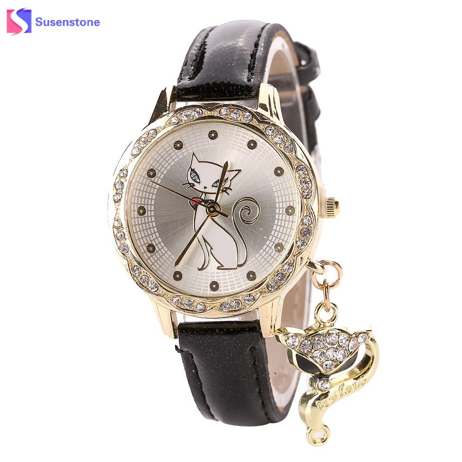 Fashion Women Girl Watch Luxury Diamond Analog Leather Quartz Wrist Watches Cut Cat Print Alloy Dial Female Ladies Dress Watches new fashion women retro digital dial leather band quartz analog wrist watch watches wholesale 7055