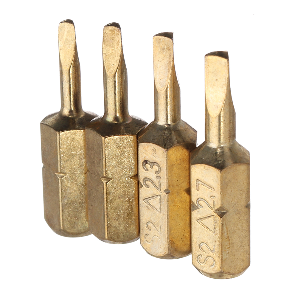 Broppe 4pcs 25mm 1.8-2.7mm Triangle Shaped Screwdriver Bits 1/4 Inch Hex Shank Electroplating Bronze 1.8mm 2.0mm 2.3mm 2.7mm