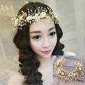 Bridal Gold Leaf Hairwear Pearl Flower Set Auger Hair Jewelry Wedding Hair Accessories Bride Head Chain Hairwear Jewelry