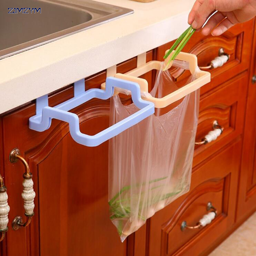Kitchen Hanging Trash Rubbish Bag Holder Garbage Storage Rack Cupboard Hanger