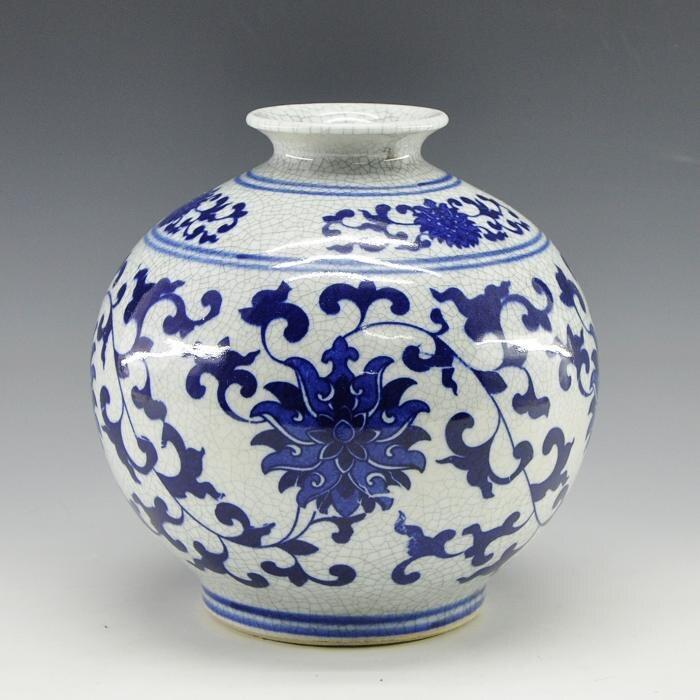 China Pomegranate Shape Porcelain Vase With Crackled Craft