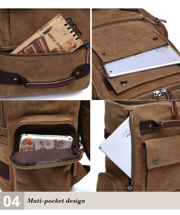 Men Laptop Backpack 15 Inch Rucksack Canvas School Bag Travel Backpacks for Teenage Male Notebook Bagpack Computer Knapsack Bags 16