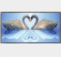 Diamond Mosaic Swans Cross Stitch Diy Diamond Picture Animals Diamond Painting Picture By Numbers