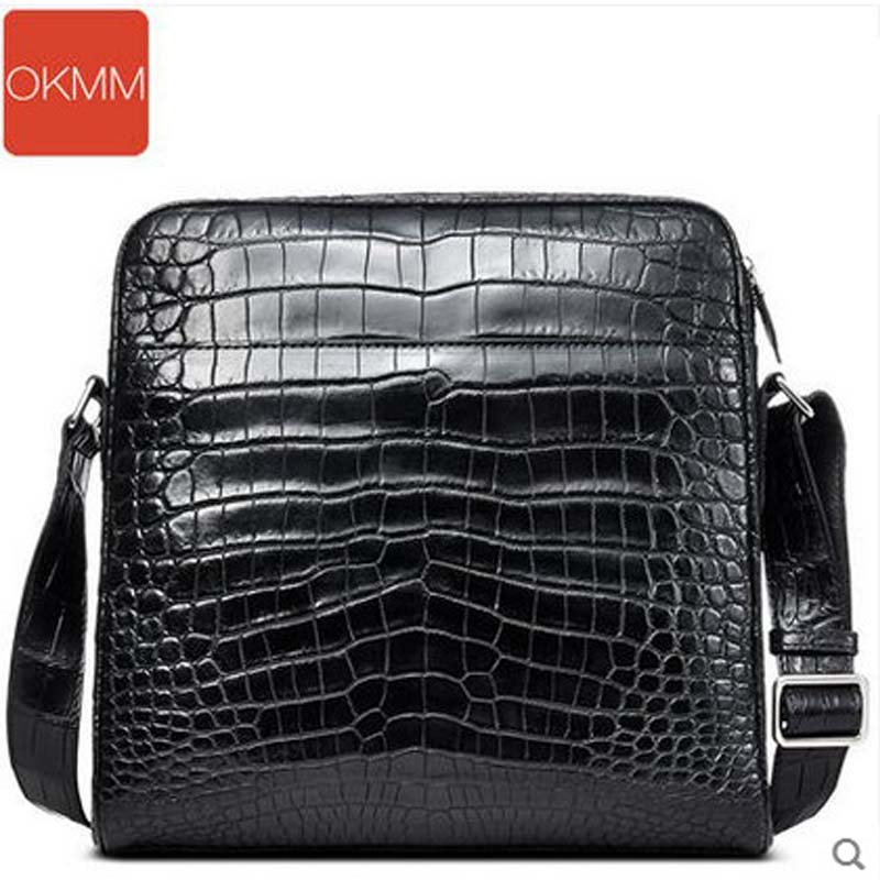 okmm 2017 crocodile man hanbag without splicing crocodile belly men bag single shoulder bag business men's slanting men without women