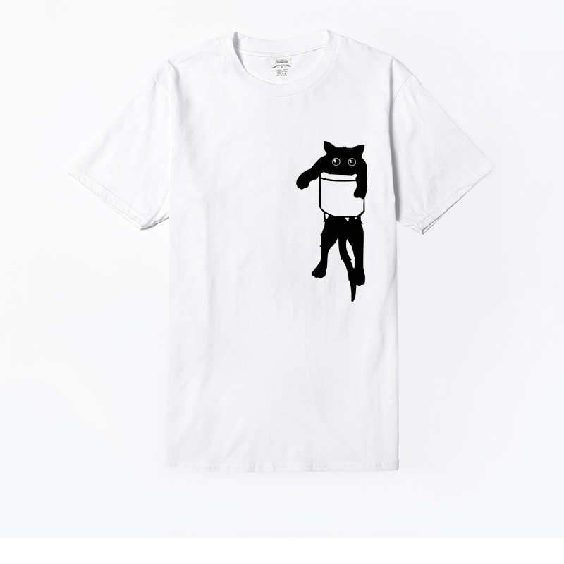 Hillbilly Unisex Casual T-shirts Women Fake Cat Pocket Left Chest Print Funny T Shirts Cool Cute Over Size Short Sleeve Tee Tops