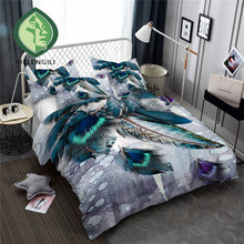 HELENGILI 3D Bedding Set Feather Print Duvet cover set lifelike bedclothes with pillowcase bed home Textiles #YM-02