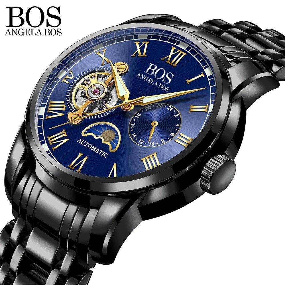 Анжела BOS черный механические Автоматические часы для мужчин Moon Phase световой нержавеющая сталь водостойкий лучший бренд класса люкс для муж...