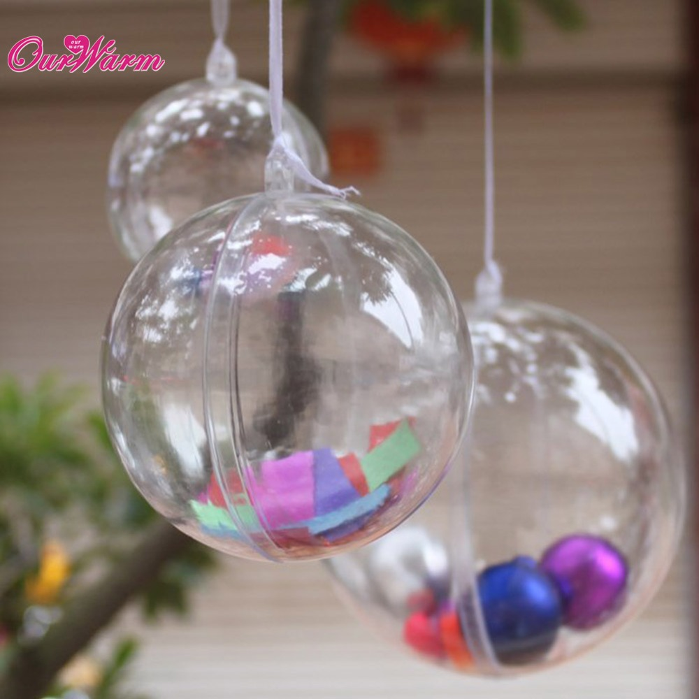 Clear plastic ornaments - 50pcs 100mm Transparent Acrylic Ball Wedding Party Home Decoration Fillable Ornament Sphere Christmas Decoration Supplies