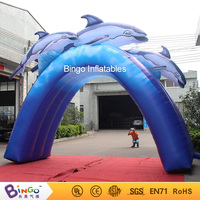 16*13ft giant inflatable dolphin, 5X4m inflatable dolphin arch tunnel for water park occean theme toys