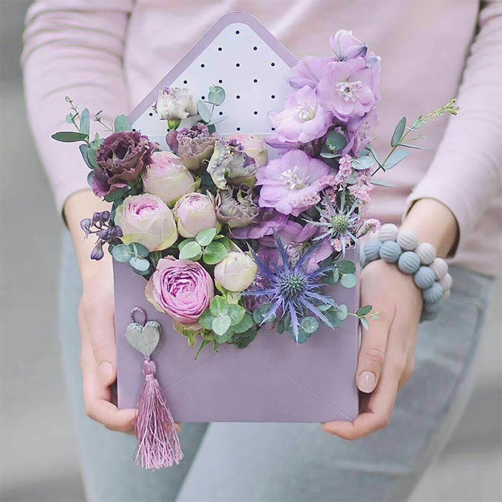 5pcs  set envelope flower gift box lovely hand hold