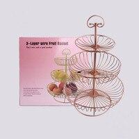 Three layers rose gold circular metal cake rack fruit stand dessert rack for Wedding decoration