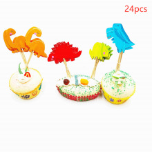24pcs Dinosaur Cupcake Topper cake Wedding Decoration Baby Shower Birthday Party Supplies Cake Baking