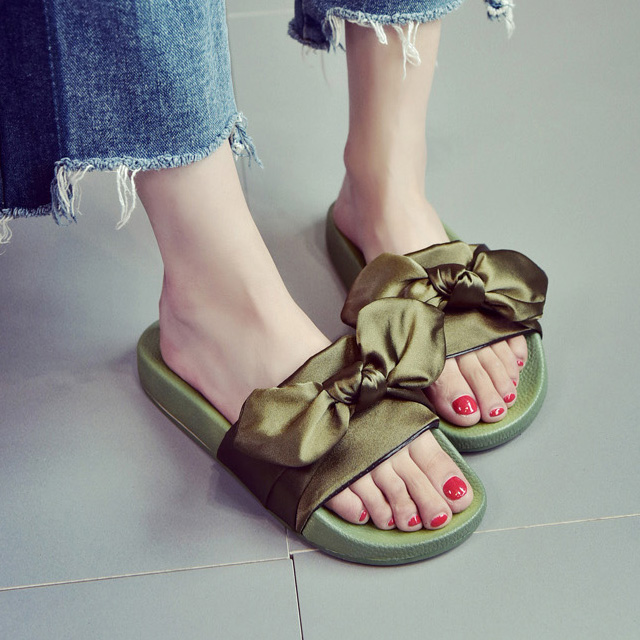 Dropwow Women Slippers Silk Bow Slides Summer Beach Shoes Woman No ... 720f2f7e5