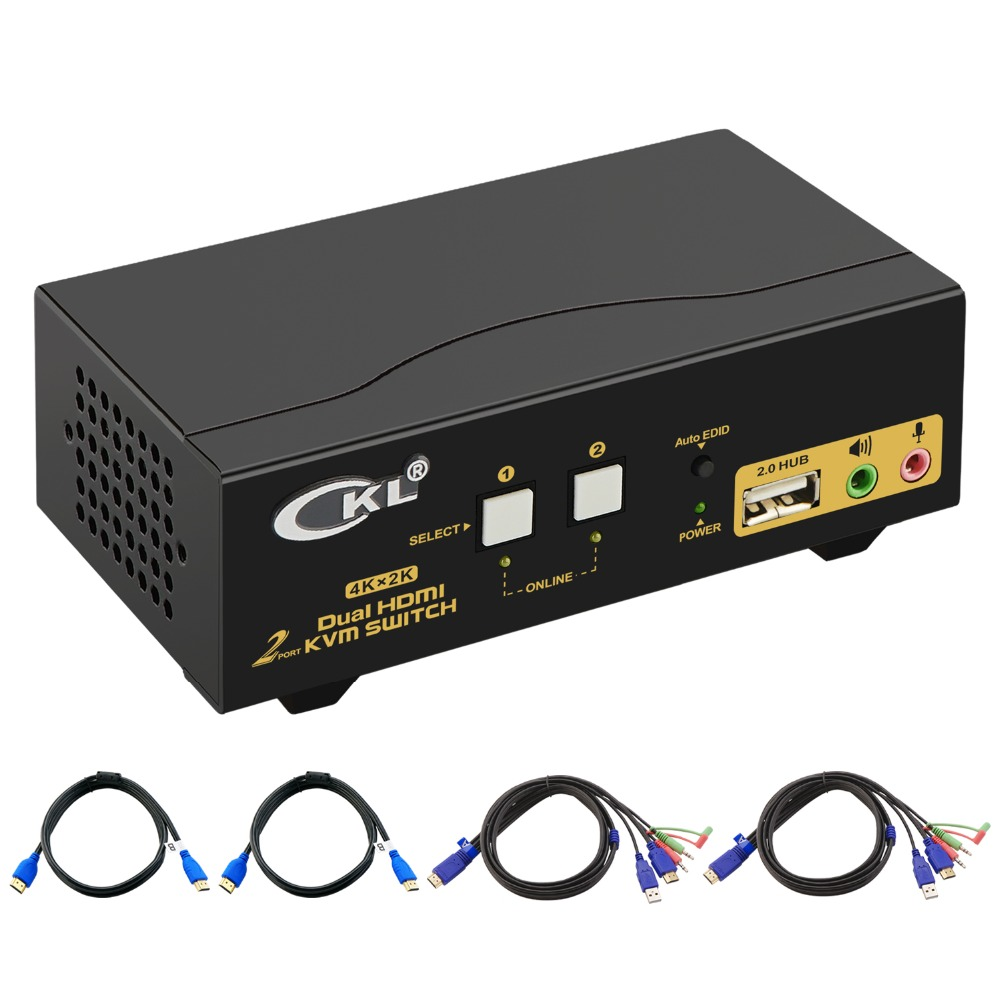 HDMI KVM Switch 2 Port Dual Monitor Extended Display, CKL USB KVM Switch HDMI with Audio + 2 HDMI Output 4K@30Hz, PC Monitor Key