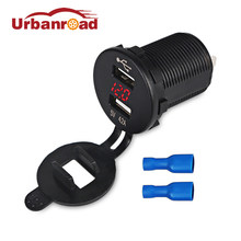 Urbanroad Red Waterproof 12v USB Socket Motorcycle Boat Car USB Socket Charger With Voltmeter Power Adapter for Motorbike 12-24V(China)