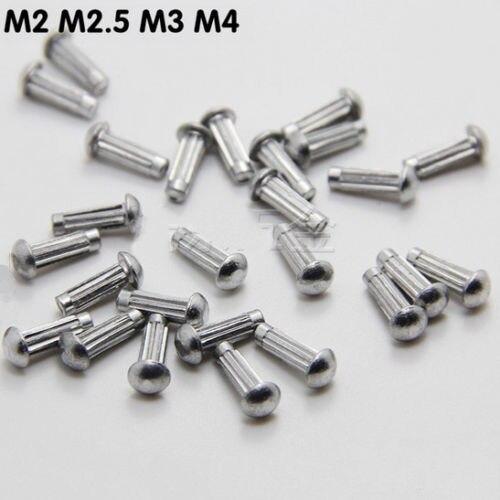 50Pcs M4 x 6mm Half Round Cap Head Aluminum Rivets Knurled Solid Rivet 2-4mm DIA