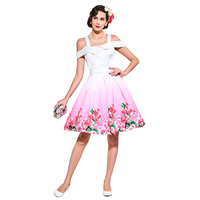 Sisjuly Vintage Dress 1950s Style Spring White Print Floral Slash Neck Women Party Dress 2017 Summer