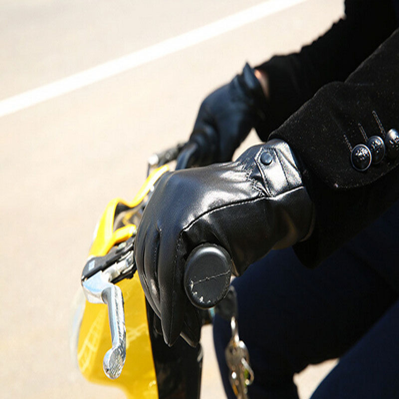 Hot! Black Men Winter Leather Motorcycle Full Finger Touch Screen Warm Gloves Drop ship