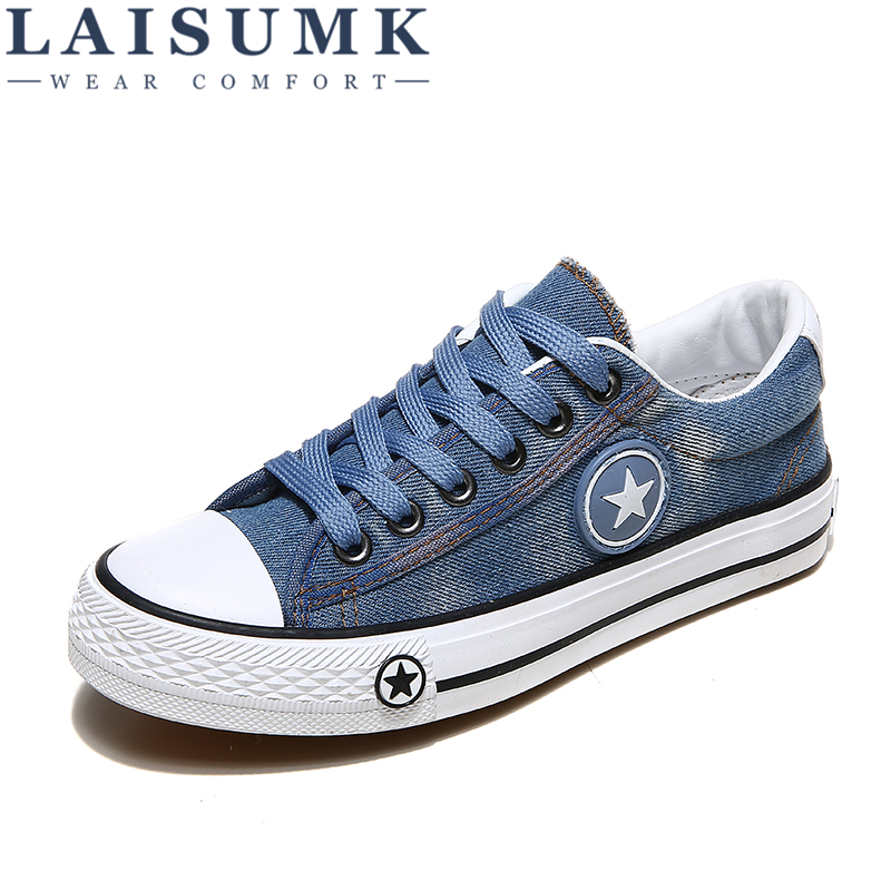 2018 LAISUMK Designer Women Casual Shoes Female Summer Denim Canvas Shoes ladies sneakers Trainers Stars Basket Size 35-44