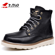 Cool Martin Shoes Autumn Winter Leather Men Boots Comfortable Fashion Rubber Flat Lace-up Male Zapatos Hombre chaussure SG074