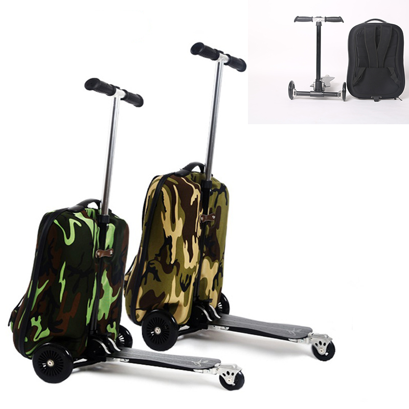 COOL 20 inches camouflage boy scooter suitcase men trolley case extrusion students backpack business Travel luggage Boarding box 21 inch students scooter suitcase boy cool trolley case 3d extrusion high quality pc separable travel luggage child boarding box