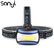 SANYI 3800LM كشافات التخييم مصباح يدوي رئيس ضوء الشعلة مصباح بواسطة 3 * AAA بطارية LED COB كشافات للصيد