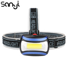 SANYI 3800LM Headlamp Camping Flashlight Head Light Torch Lamp by 3* AAA Battery LED COB Headlamp for Hunting