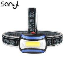 SANYI lampe frontale, lampe torche alimentée par 3 piles AAA LED COB, éclairage de Camping, idéal pour la chasse, 3800lm