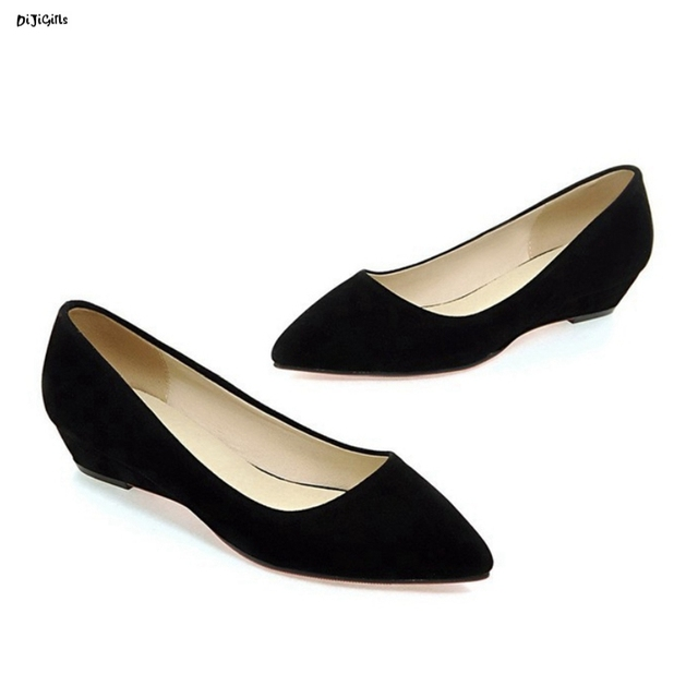f61648f20a7e Women Fashion Pointed Toe Low Wedges Heels Party Shoes Woman Pumps Plus  Size Slip On Shoes mgc17
