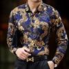 2017 Luxury Black And Gold Shirts Mens Dragon Print Viscose Camisa Slim Fit Social Club Outfits