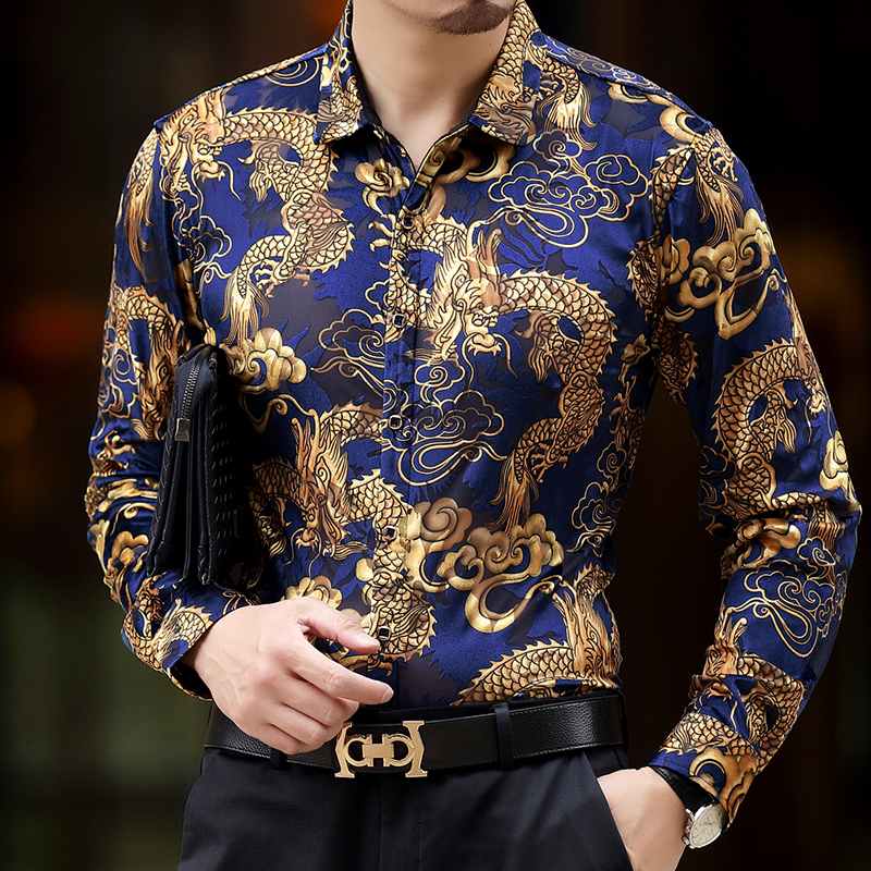 baroque silk shirts mens dragon dress shirts mens club. Black Bedroom Furniture Sets. Home Design Ideas