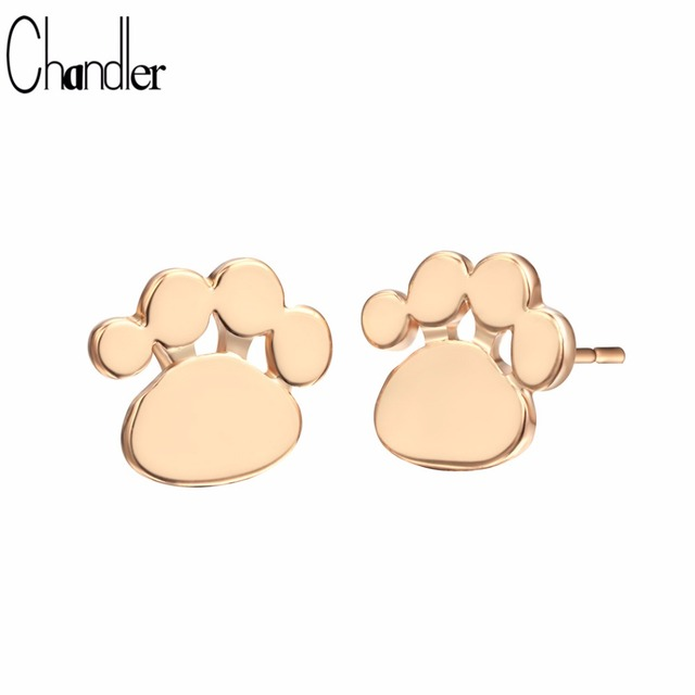Chandler Cute Dog Cat Paw Stud Earrings Animal Paw Print Earrings Footprint Shape Tiny Small Fashion Jewelry Party Birthday Gift