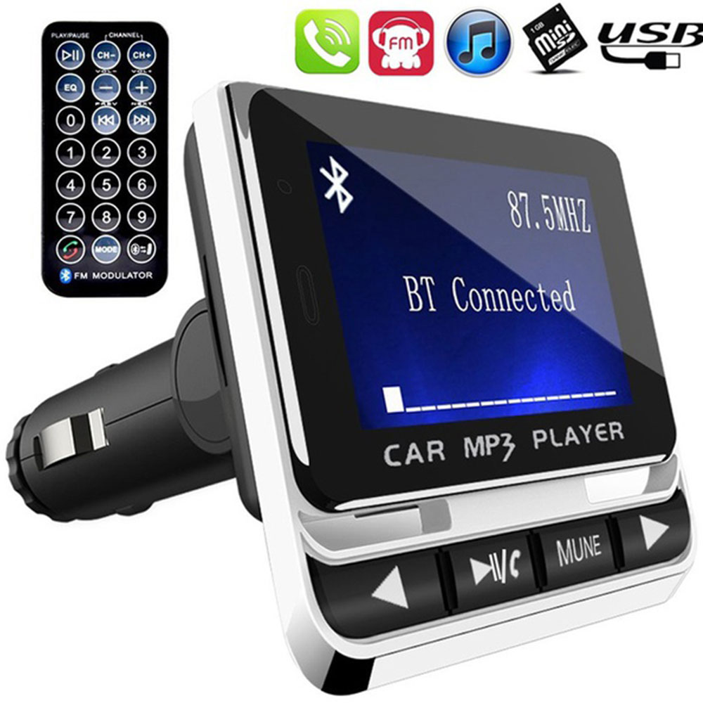 Vehemo LCD Screen 1.4 Inches Portable Compact MP3 Player Handsfree Calls TF Car MP3 FM Transmitter Stylish Automobile